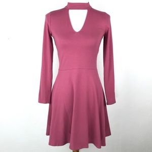 NWT Hollister Pink Long Sleeve Skater Dress